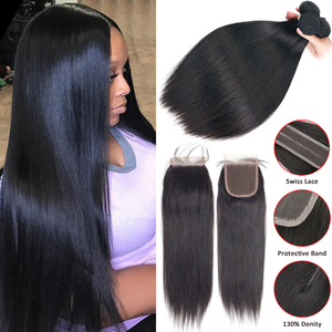 Sapphire Straight Human Hair Bundles With Closure Remy Human Hair 3 Bundles With Closure Peruvian Hair Bundles With Closure