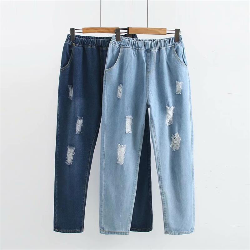 Большие размеры blauw & небесно-голубые рваные джинсы vrouwen broek casual lente & herfst hoge Tail dames Denim broek