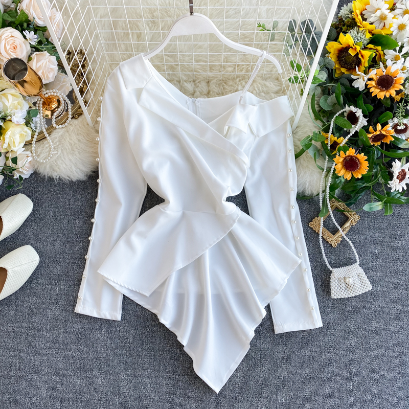Women's Temperament Beaded Full Shirt Female Design Off-shoulder Irregular Notched Top Office Lady Solid Tops And Blouses ML670
