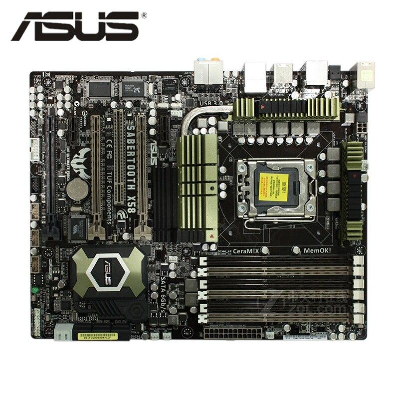LGA 1366 Original ASUS SaberTooth X58 1866Mhz 1600 6 X DDR3 Motherboard ATX 24GB PCI-E X16 Desktop Computer Mainboard Plate Used