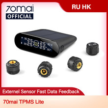 70mai sistema de monitor pressão dos pneus lite carro inteligente tpms energia solar controle app sistemas alarme segurança automática pneus aviso pressão
