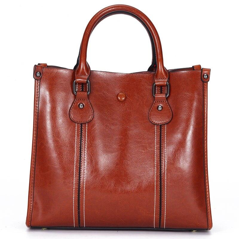 100% Genuine Leather Vintage Women Handbag Casual Tote Bag High Quality Ladies Shoulder Messenger Bags Black Brown