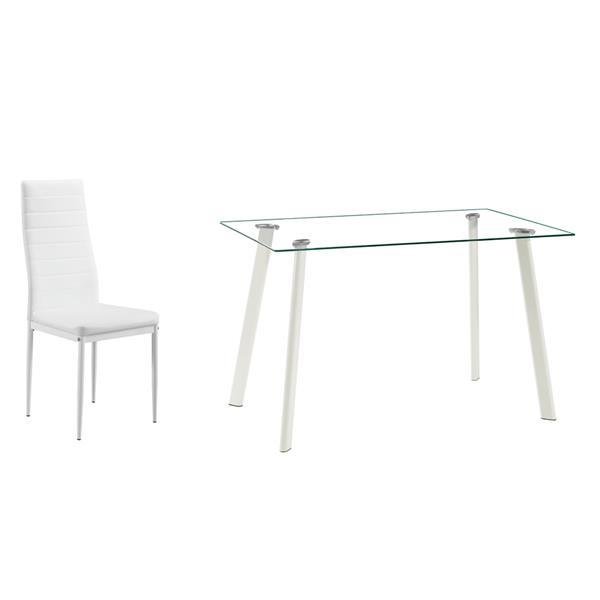 White Glass Dining Table Set w/ 4 Chairs  2