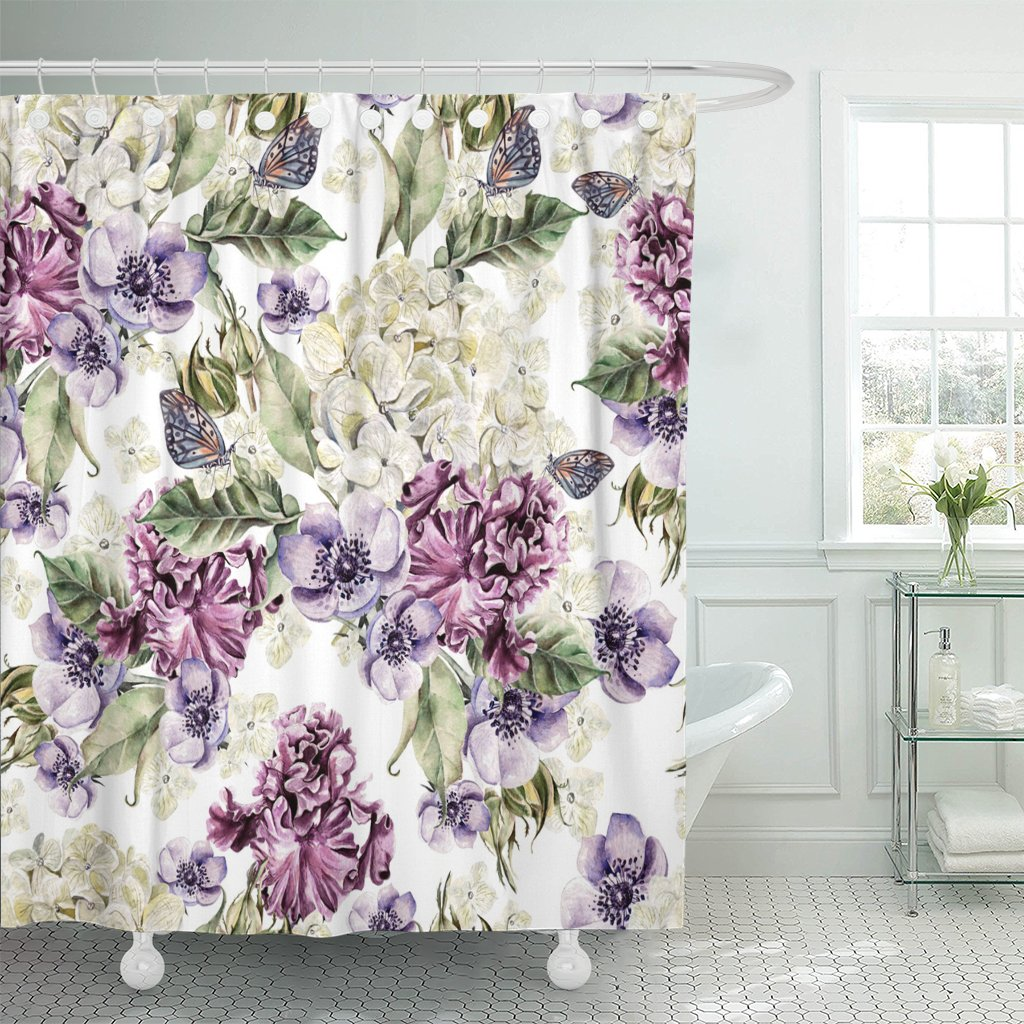 purple vintage bright watercolor with flowers roses irises anemones and hydrangea colorful bud floral shower curtains waterproof
