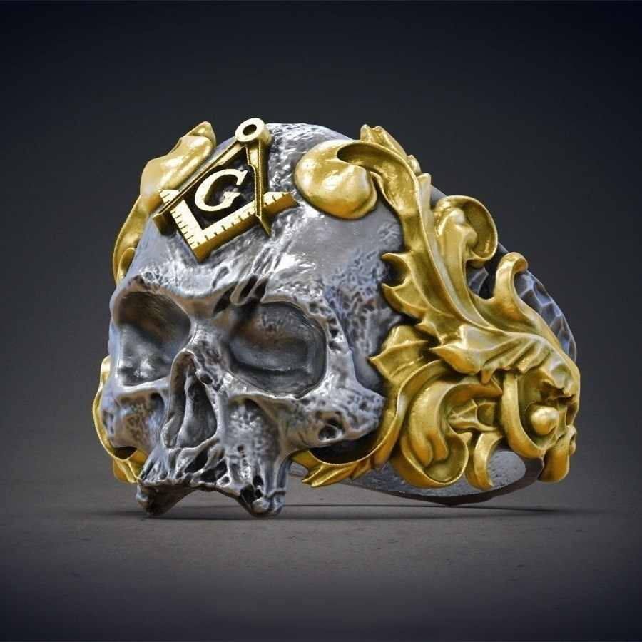 2019 New European Masonic Skull Men Signet Rings Vintage Gothic Mystic Glory Male Finger Rings Anel Masculino Jewelry