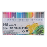 24 Colors Marker Liner Drawing Watercolor Marker Pens Twin Head Brush Pen Painting Art Supplies