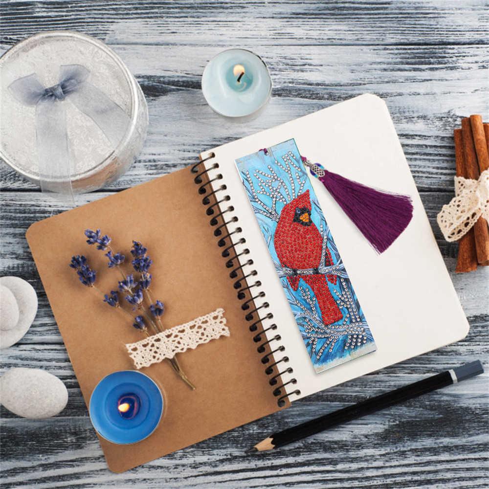 HUACAN especial en forma de diamante pintura cuero marcador diamantes bordado artesanía libro con borla marcas para libros regalos de navidad