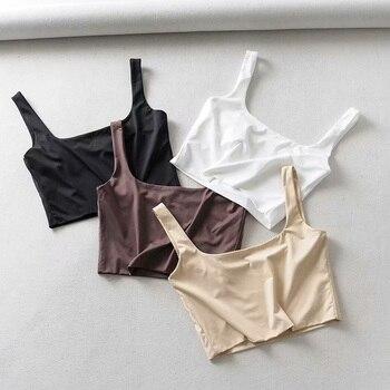 Gran oferta de camisetas sin mangas para mujer para verano del 2020, camisetas sin mangas cortas a la moda con cuello cuadrado, Tops sin mangas en 4 colores