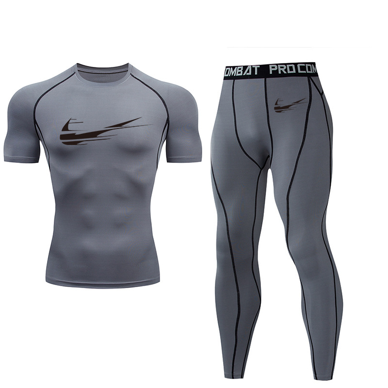 New Men's Suit Fitness Leisure Sportswear Jogger Men's Clothing Brand Round Neck Two Elastic Dry Clothes Elastic Waist 2019