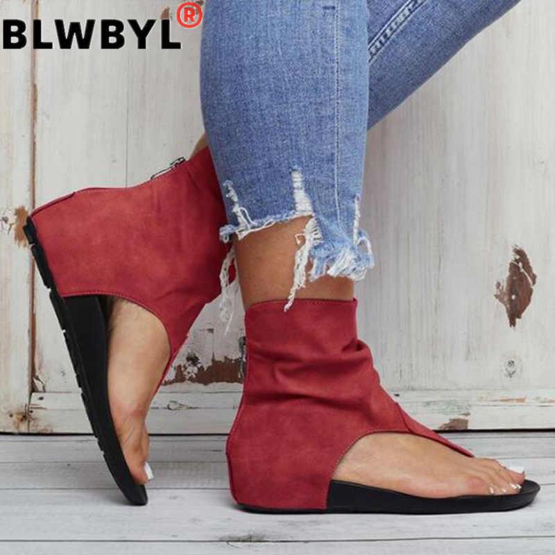 Bayanlar sandalet klip ayak düz kadın platformu PU deri gladyatör ayakkabı yaz kadın Flip Flop fermuar artı boyutu rahat kadın