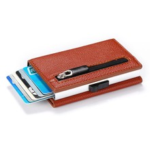 New Credit Card Holder 2019 New Aluminum Box Card Wallet RFID PU Leather Pop Up Card Case Magnet Carbon Fiber Coin Purse(China)