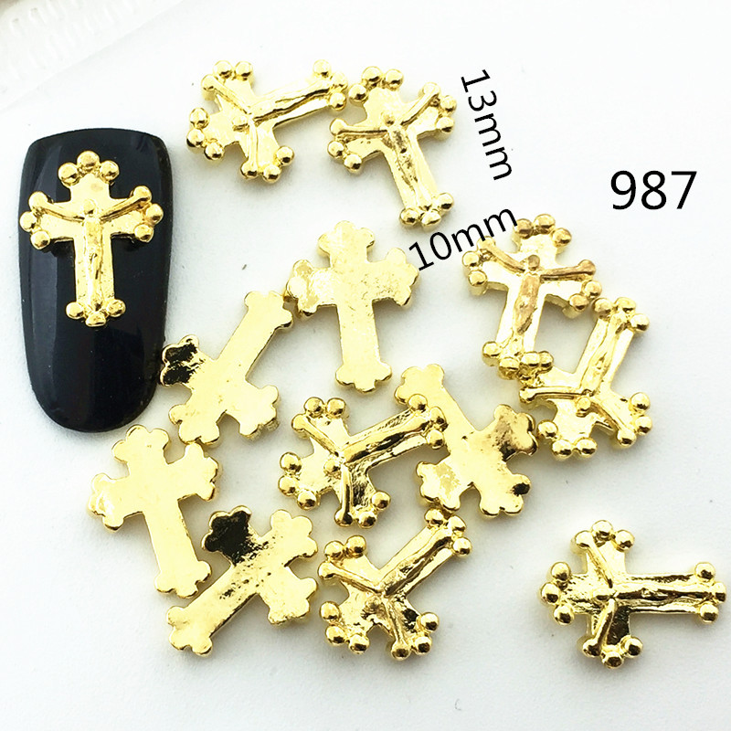 Xingnai Metal Dotted Jesus Cross Japanese-style Have Curved Nail Sticker Alloy Nail Ornament DIY