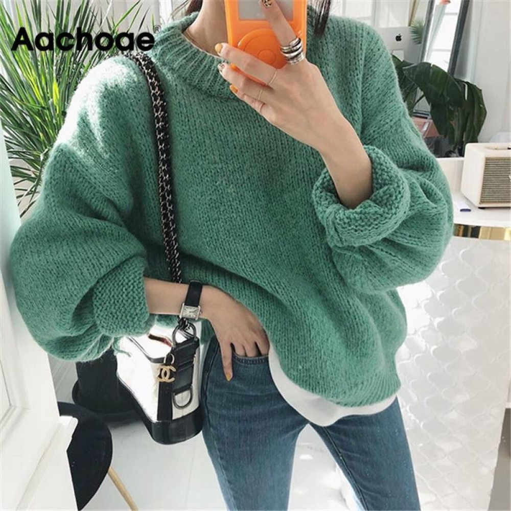 Aachoae Sweater Women 2020 Autumn Winter Solid O Neck
