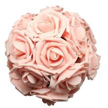 50 pçs espuma rosa flores artificiais reais olhando rosas falsas com haste para buquês de casamento diy arranjos centrais par