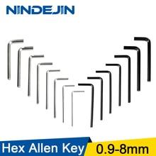 NINDEJIN 5-10pcs L shaped hex hexagon key allen wrench 0.9mm 1.5mm 2mm 2.5mm 3mm 4mm 5mm 6mm 8mm carbon steel allen key