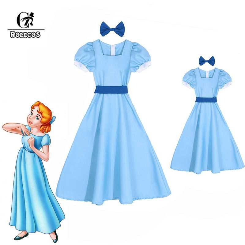 ROLECOS Wendy Darling платье Питер Пэн маскарадные костюмы синее платье для девочек Женский длинный костюм вечерние костюмы на Хэллоуин Рейчел Косплей