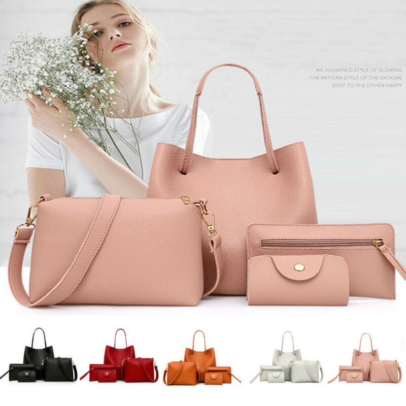4pcs Fashion Women's Handbag Set PU Leather Ladies Purse Solid Color Shoulder Messenger Bag Wallet Pouch Bags For Women 2019