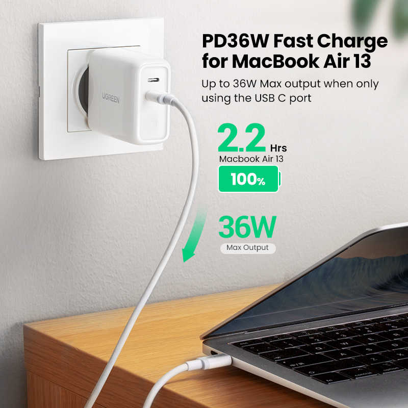 Ugreen 36W Quick Charge 3.0 USB 4.0 PD Charger QC 3.0 ChargerสำหรับiPhone 11X8 โทรศัพท์USB Type C ChargerสำหรับHuawei Xiaomi