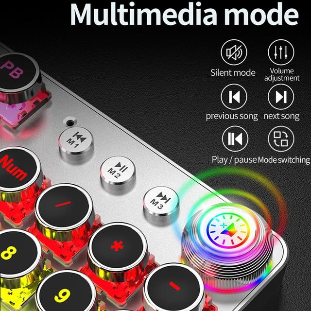 Steampunk Gaming Mechanical Keyboard Metal Panel Round Retro Keycap Backlit Wired Computer Peripherals for Desktop Laptop 6