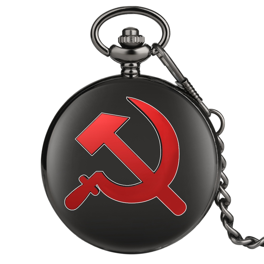 Red USSR Soviet Sickle Hammer Style Pocket Watch Necklace Quartz Dial Bronze Pendant Clock CCCP Russia Emblem Communism Chain
