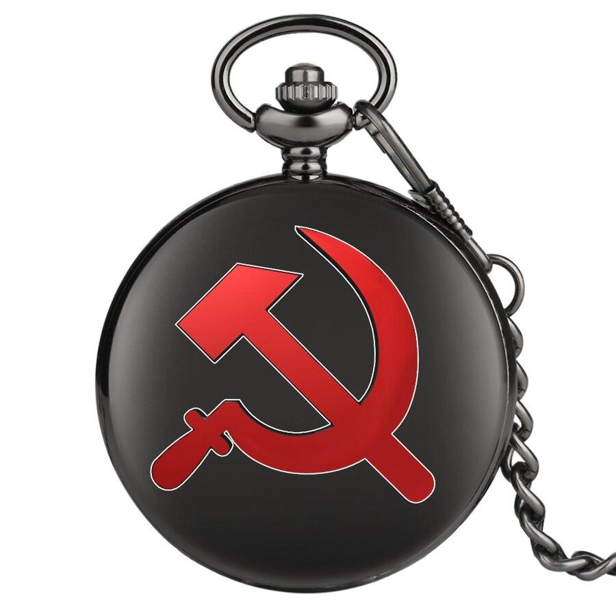 Red USSR Soviet Sickle Hammer Style Quartz Pocket Watch Necklace Bronze Pendant Clock CCCP Russia Emblem Communism Chain Gifts