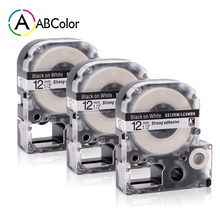 3PK Black on White SS12KW Label Tape LC-4WBN Tape 12mm For Epson King Jim Label Maker LW-300 LW-400 LW-500 LW-600P LW-700 цена 2017