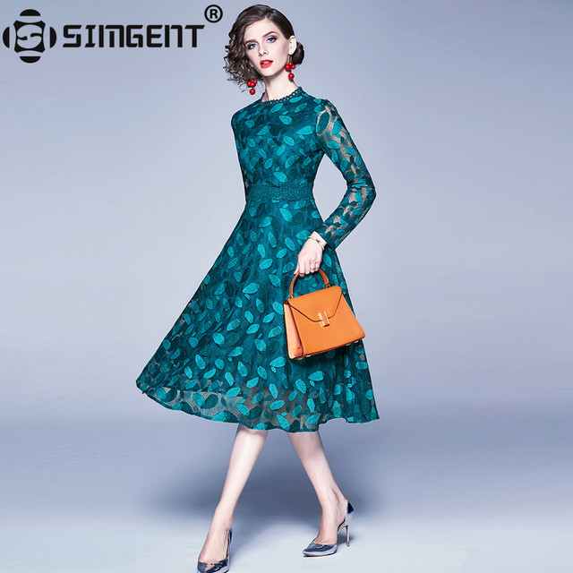 Simgent Lace Crochet Dress Womans Autumn Long Sleeve Leaves Patchwork A Line Flared Dresses New Vestidos Female Robe SG910173