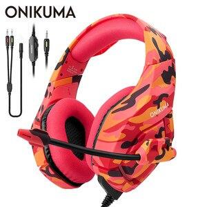 Игровая гарнитура ONIKUMA K1 Casque PS4 с микрофоном, камуфляжные шумоподавляющие наушники для ПК, мобильного телефона, нового Xbox One, ноутбука
