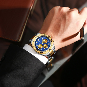 Image 5 - MEGALITH Men Sport Wristwatches Luxury Brand Gold Steel Strap Watches Men Waterproof Luminous Quartz Man Clock Reloj Hombre 2019