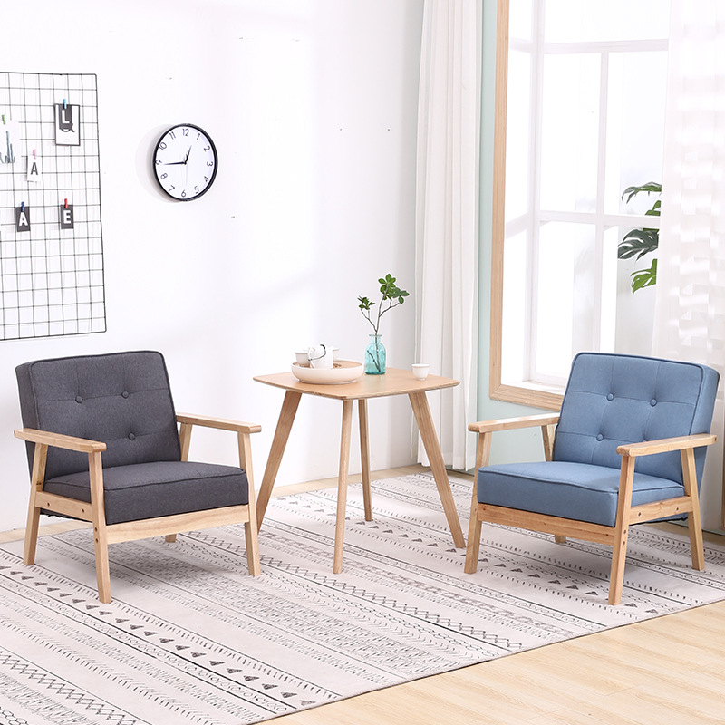 Yulai Cegar Xuan Solid Wood Fabric Single Sofa Balcony Tables And Chairs Simple Table Coffee Shop Dessert Tea Shop A Table With