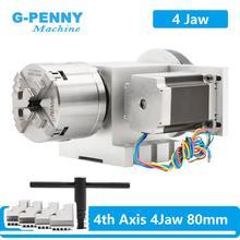 Ratio de reducción de 4 ejes CNC, cabezal divisorio de 4 mordazas de 80mm, rotación de eje A, Nema23 para máquina de grabado para carpintería