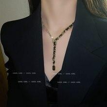 Индивидуальный кулон в стиле «хип-хоп» Кулон Колье для свитера с преувеличенный обмотки инкрустированные Стразы удачи Женское Ожерелье