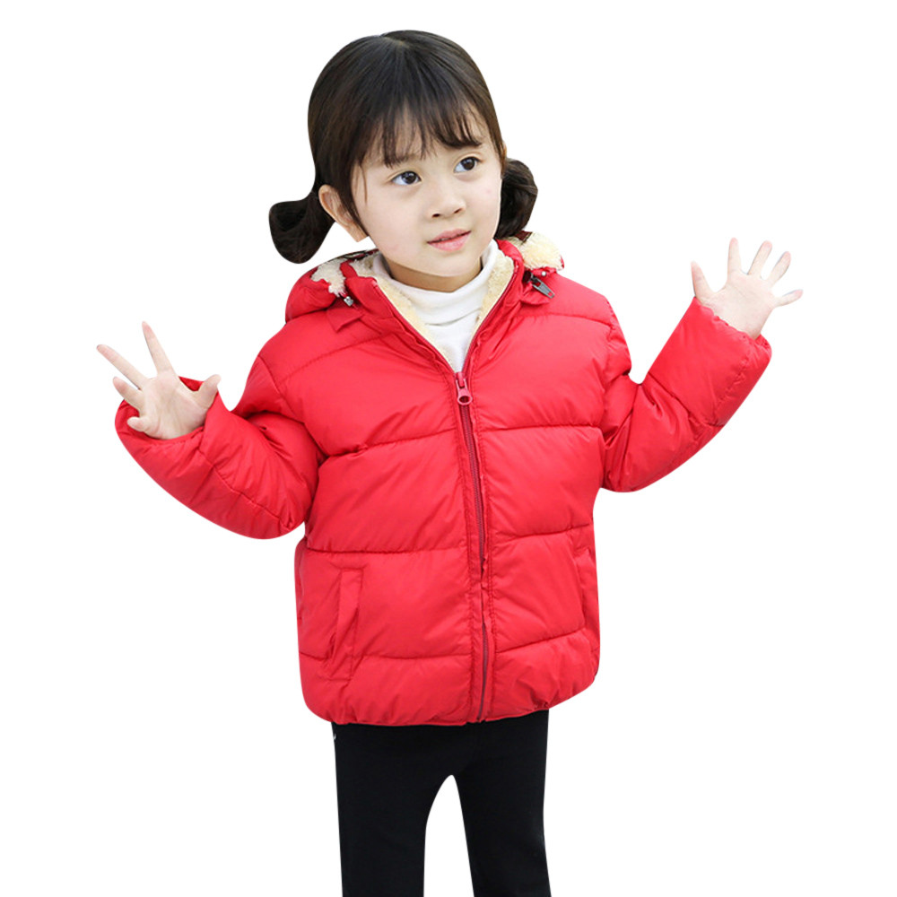 Casacos crianças Novas Crianças Meninos Bonitos Do Bebê Meninas mangas Compridas Com Capuz Casaco de Inverno Jaqueta Casaco Grosso Roupas Quentes Outerwear