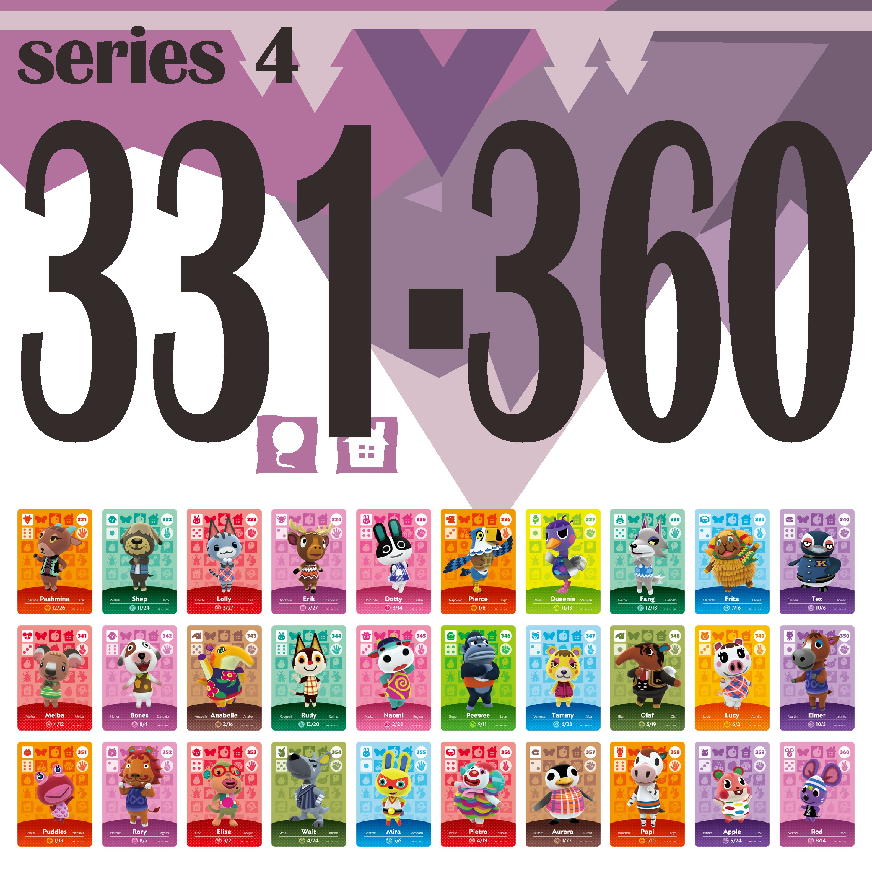 Animal Crossing Card Amiibo Card Work For NS Games Amibo Switch Amiibo Cards Welcome New Horizons NFC Series 4 (331 To 360)