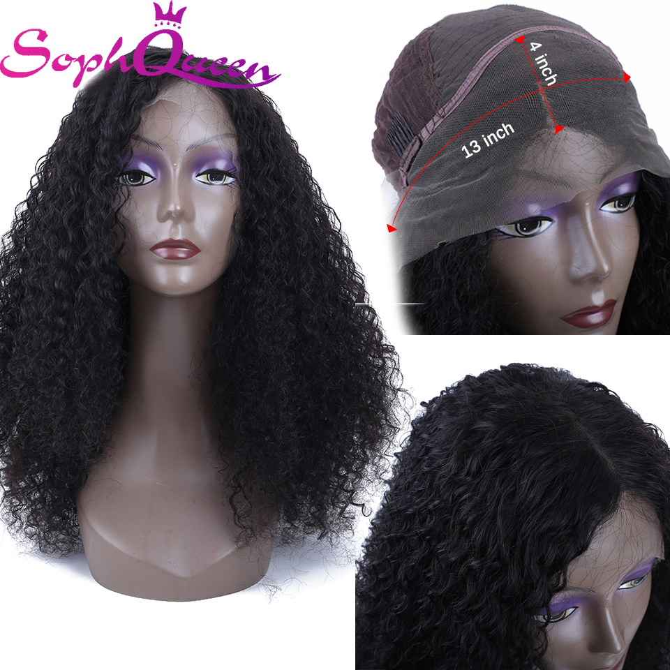 Soph Queen Hair Kinky Curly 13*4 Lace Frontal Human Hair Wigs With Baby Hair Brazlian Remy Human Hair Wigs For Black Women