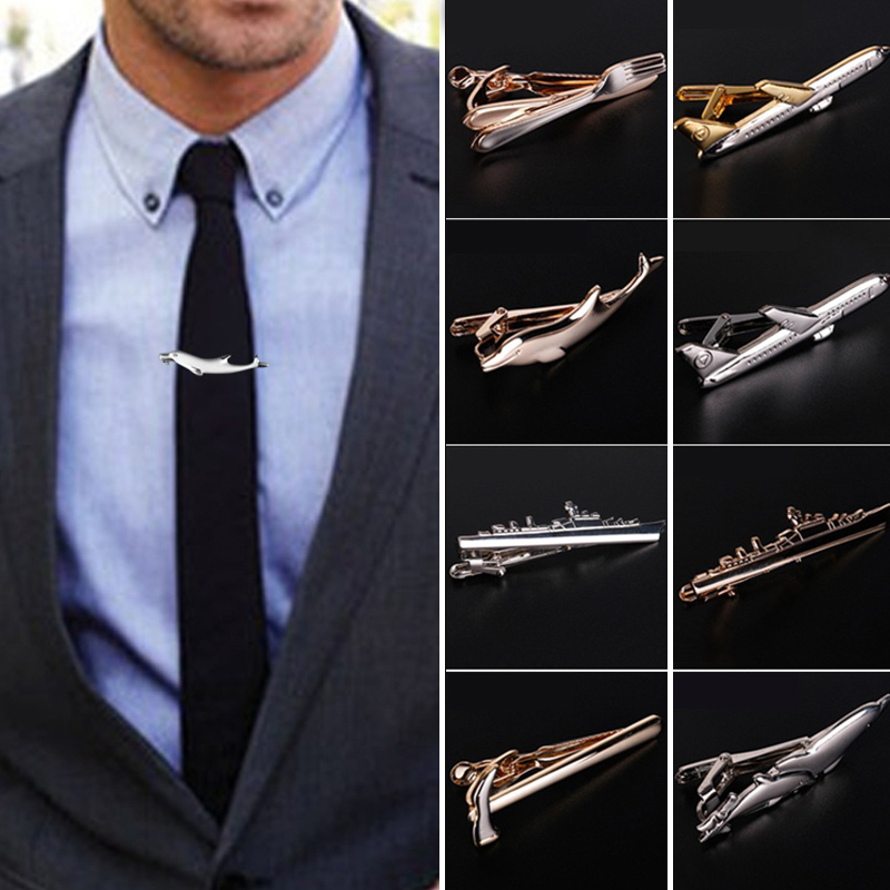 Men Alloy Metal Gold Color Tie Clips Clasp Cufflinks Steamship Dolphin Airplane Tie Bar Wedding Party Jewelry Pin image