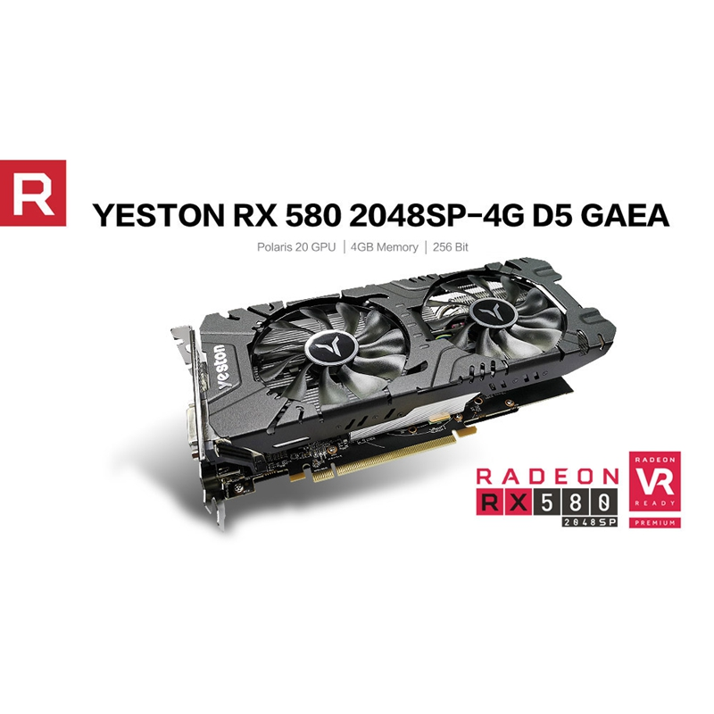 Yeston RX580 2048SP 4G D5 GAEA Image Card Video Card Radeon Chill Polaris 20 Dual Fan Cooling 4GB Memory GDDR5 256Bit