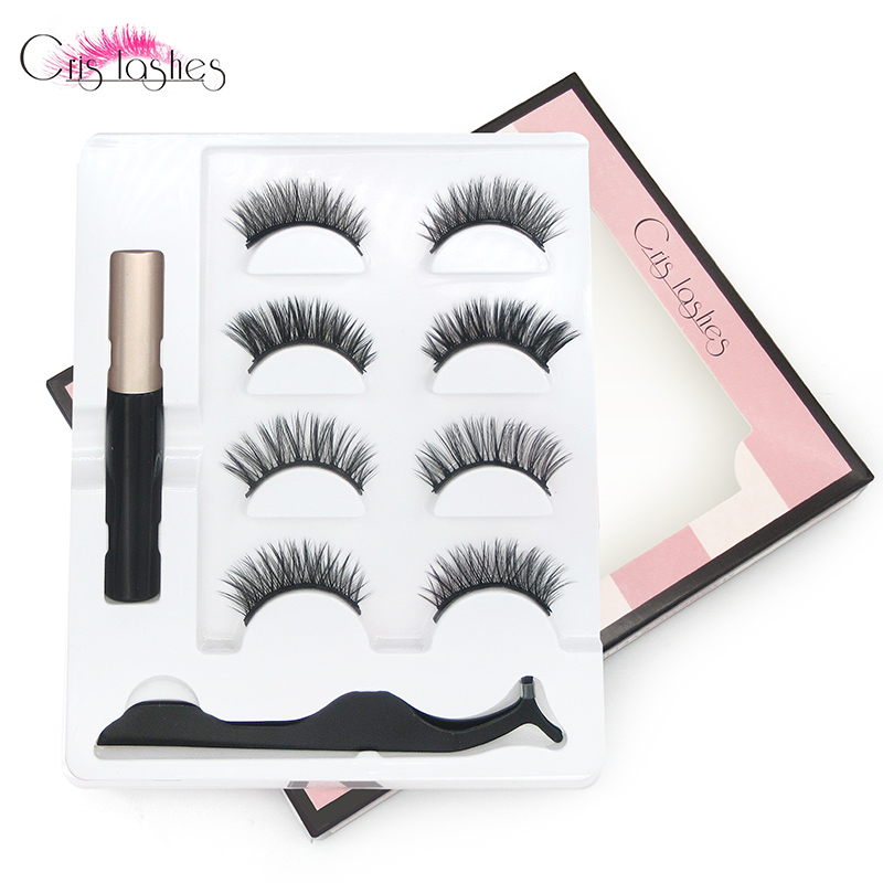 Crislashes <font><b>Magnetic</b></font> <font><b>Eyelash</b></font> Makeup Kit <font><b>Magnet</b></font> Liquid Eyeliner & <font><b>4</b></font> Pairs Mix Lashes Natural Full Strip Lash Tweezers Handmade Set image