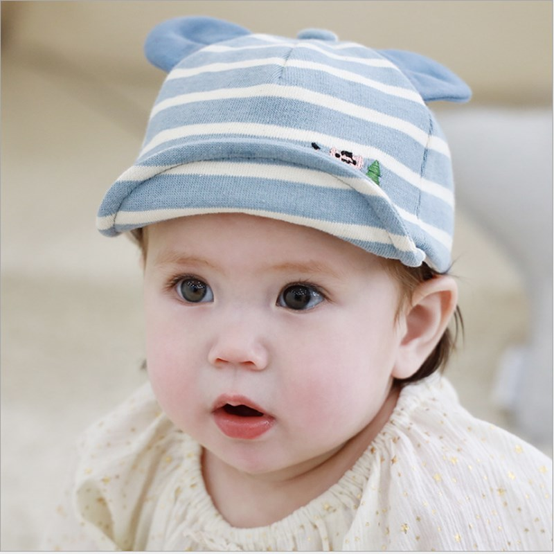 Cute Baby Boy Girl Autumn Winter Hat Kid Unisex Home Outdoor Hat Soft Warm Cotton Baby Hat Striped Cartoon Print Baby Hat in Hats Caps from Mother Kids
