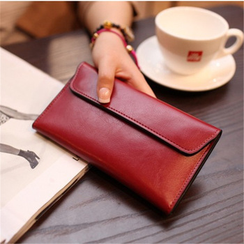 Genuine Leather Women Wallet Long Magnetic Buckle Female Clutch Bags Cow Coin Purse Credit Card Holder