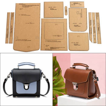 1Set DIY Kraft Paper Template New Leisure Small Square Bag Shoulder Bag Crossbody bag Leather Craft Pattern DIY Stencil Sewing