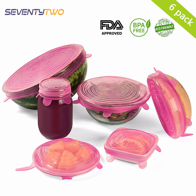 100% Food Grade 6 PCS Silicon Stretch Lids Universal Lid Silicone Saran Food Wrap-bowl Pot Lid-silicone Cover Pan Kitchen