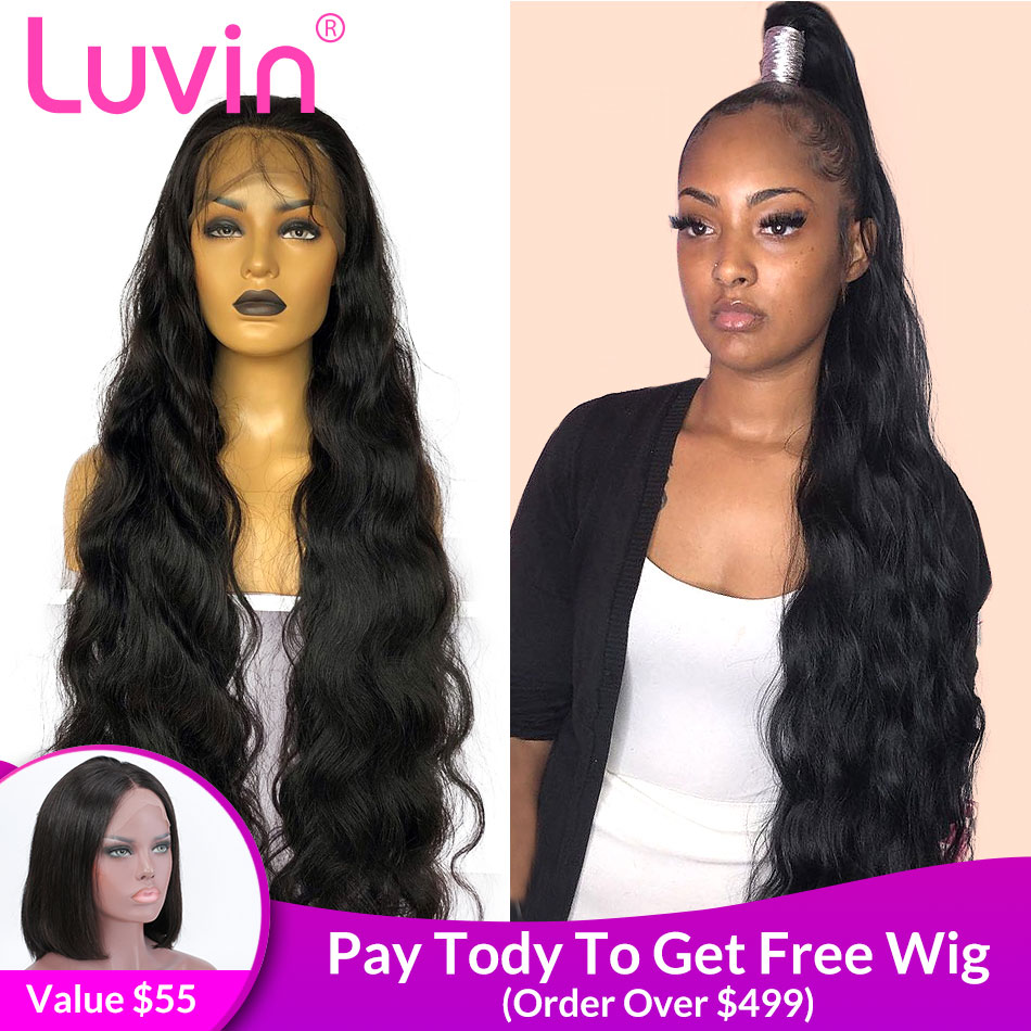 Luvin Invisible Fake Scalp 28 30 Inch Body Wave 13x6 HD Transparent Lace Front Human Hair Wigs Brazilian Frontal Wig Black Women