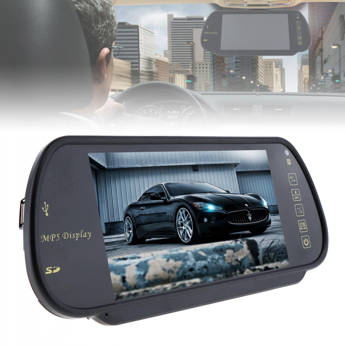 7 Inch Farbe TFT LCD Auto Rückspiegel Monitor Auto Fahrzeug Parkplatz Backup Reverse Monitor Unterstützung SD / USB