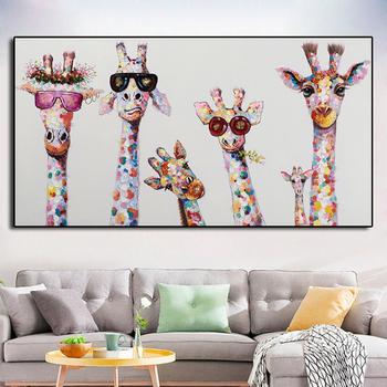 Kolorowe żyrafą zwierzęciem rodzina plakat malarstwo Cuadros dla Kid Wall Art Picture salon plakaty do wystroju wnętrz obraz olejny tanie i dobre opinie MERRYPRETTY Obrazy olejne Pojedyncze Płótno Wodoodporny tusz Zwierząt Unframed Nowoczesne MP20-B012 Malowanie natryskowe