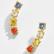 Tiny Rainbow Ear Climbers and Ear Crawlers for Woman Small CZ Studs Earrings Rainbow Jewellery 2020 Gold Filled Zircon Ear Studs fanier new charm rose gold flag zircon four ear studs mode ladies simple temperature jewel ear ball recommended marriage ball