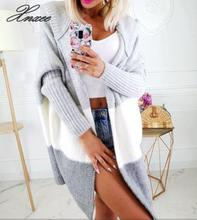 Xnxee 2020 Autumn Women Hooded Long Cardigan Sweater Striped Color Coats Loose Cardigan Long Sleeve Casual Knit Sweater Coat apricot lace up detail knit long sweater cardigan