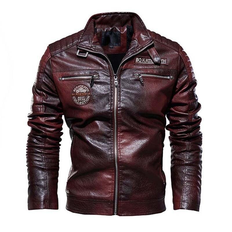 Mcikkny Men's Biker Leather Jackets Fleece Lined Motorcycle Pu Faux Leather Jackets Outwear For Male Size L-3XL Windbreak