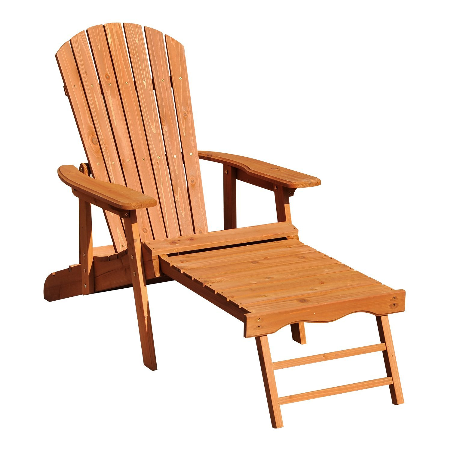Outsunny Adirondack Chair Beach Bed Folding Adjustable Footrest Outdoor Garden Wooden 175x70x80 CM