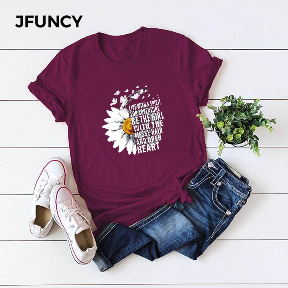 JFUNCY 2020 New Summer Cotton Women T-shirts Creative Chrysanthemum Inspirational Letter Print T Shirt Plus Size Mujer Tee Tops